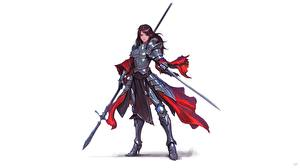Обои Воины Рыцарь Белым фоном Доспехах Копья Шатенки Фантастика Девушки
