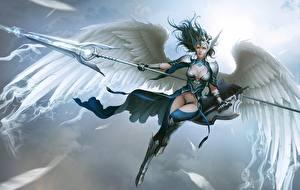 Картинка Ангелы Воители Копья Красивая Крылья Броне Щиты Valkyrie, Lee Hyun woo Фэнтези Девушки