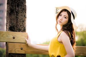 Фотография Азиаты Боке Смотрит Платья Шляпа Шатенки Красивый Девушки