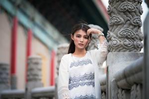 Обои Азиатки Позирует Боке Смотрит Брюнетки девушка