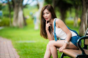 Картинка Азиатки Сидящие Боке Взгляд Скамья Шатенка Позирует Девушки