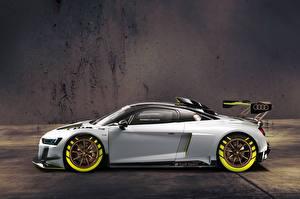 Фотография Ауди Серебристый Сбоку 2019 R8 LMS GT2 Автомобили