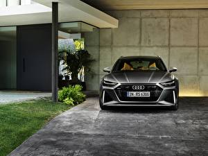 Картинки Ауди Спереди Серая Универсал 2020 2019 V8 Twin-Turbo RS6 Avant авто