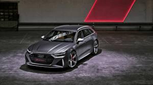 Фотографии Audi Серая Универсал 2020 2019 V8 Twin-Turbo RS6 Avant Автомобили
