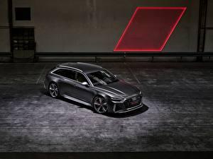 Картинка Audi Серый Универсал 2020 2019 V8 Twin-Turbo RS6 Avant машины