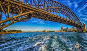 Обои для рабочего стола Австралия Дома Мосты Волны Сидней Залива Города