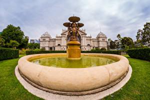 Фотографии Австралия Мельбурн Парк Фонтаны Скульптура Природа