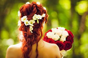 Фотографии Букеты Розы Невеста Рыжие Венок Сзади Причёска девушка
