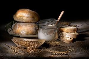 Фотография Хлеб Мука Пшеница Банка Зерна Пища