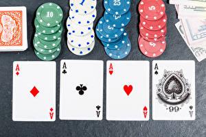 Картинки Игральные карты Туз Фишки Казино tokens