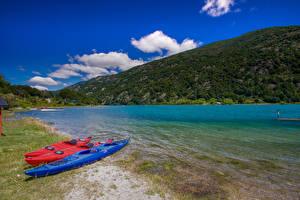 Фото Чили Лодки Берег Холм Залива Patagonia Природа