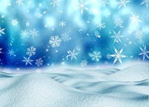 Обои для рабочего стола Рождество Снежинка Снегу