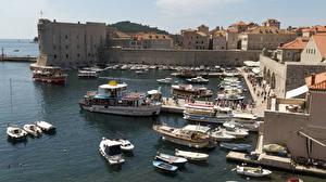Картинки Хорватия Здания Пирсы Лодки Катера Дубровник Заливы город