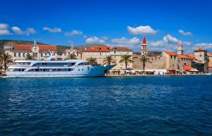 Картинки Хорватия Дома Пристань Корабль Залив Trogir город