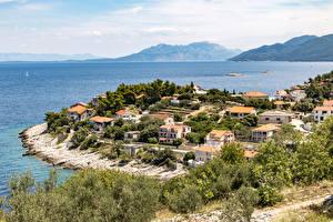 Фотография Хорватия Здания Море Заливы Prigradica Города