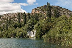 Фотографии Хорватия Парк Водопады Озеро Скалы Дерева Krka National Park Природа