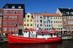 Обои Дания Копенгаген Здания Речные суда Пирсы Города