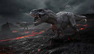 Обои для рабочего стола Динозавры Огонь Тираннозавр рекс Злость 3D Графика Животные