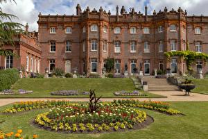 Обои Англия Здания Особняк Лестницы Газоне Hughenden Manor город