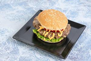 Картинки Быстрое питание Гамбургер Тарелке