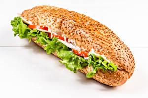 Фотография Быстрое питание Сэндвич Булочки Крупным планом Еда