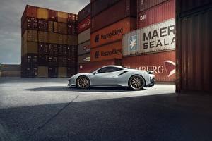 Фото Ferrari Сбоку Серая Novitec 488 Pista Автомобили