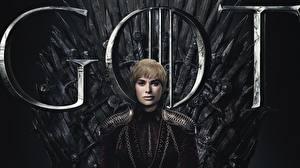 Картинки Игра престолов (телесериал) Трон Lena Headey, Cersie Lannister Знаменитости Девушки