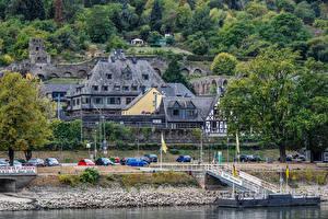 Фото Германия Здания Речка Пирсы Дерево Oberwesel Rhine River город