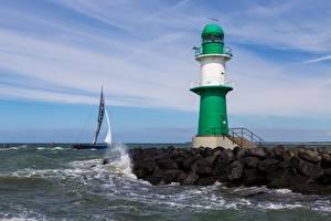 Картинки Германия Маяки Море Warnemunde, Baltic sea