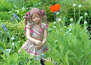 Картинка Германия Парк Маки Кукла Девочка Grugapark Essen Цветы