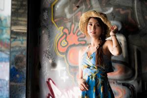 Картинка Граффити Азиатки Стенка Платья Косы Шляпа Позирует молодая женщина