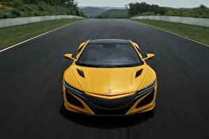 Фотография Хонда Спереди Желтые Acura NSX 2020 машина