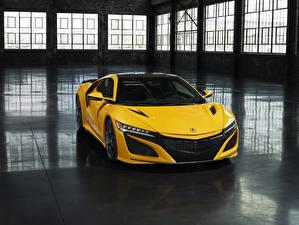 Фото Хонда Желтый Acura NSX