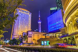 Обои Здания Шанхай Китай Ночные Башни город