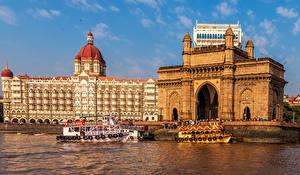 Картинка Индия Катера Пристань Здания Заливы Mumbai Города