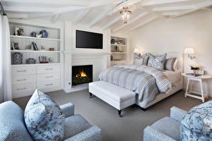 Обои Интерьер Дизайн Спальня Кровать Камин