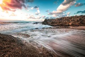 Фото Израиль Побережье Волны Небо Облака Haifa Природа