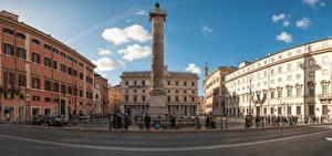 Картинки Италия Рим Дома Памятники Городская площадь Забором Города
