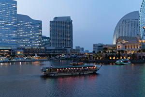 Фотографии Япония Здания Причалы Вечер Речные суда Заливы Yokohama город