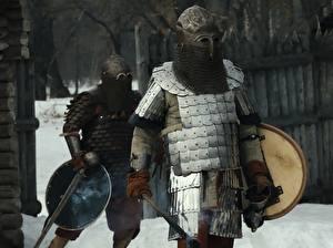 Фото Рыцарь Воин Мужчины Броне Шлема Вдвоем