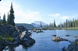 Фотографии Озеро Камень США Oregon, Lake Sparks Природа
