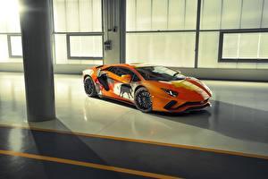 Фото Ламборгини Тюнинг Оранжевый Aventador S Skyler Grey авто