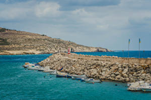 Картинки Мальта Пирсы Катера Залива Холм Island Gozo Природа