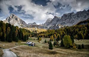 Обои для рабочего стола Гора Осенние Дороги Лес Италия Пейзаж Val Di Fassa, Dolomites Природа