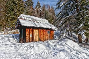 Картинка Горы Лес Франция Снега Деревьев Massif des Bauges, Savoie
