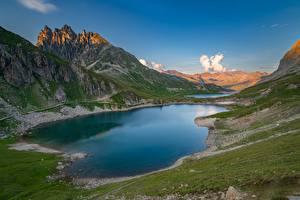 Фотографии Гора Озеро Франция Альп Valloire, Rhône-Alpes Природа