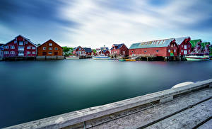 Фотографии Норвегия Лофотенские острова Дома Причалы Залива город