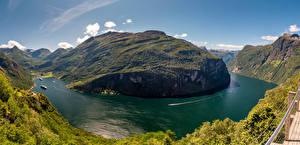 Фотографии Норвегия Горы Пейзаж Залива Geirangerfjord Природа
