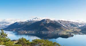Картинка Норвегия Гора Заливы Сверху Uskedal Природа