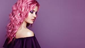 Картинка Волос Прически Цветной фон Макияж Oleg Gekman молодая женщина